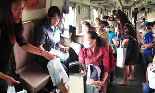 SEEK Ministry in a train bound to Chaochengsao Thailand